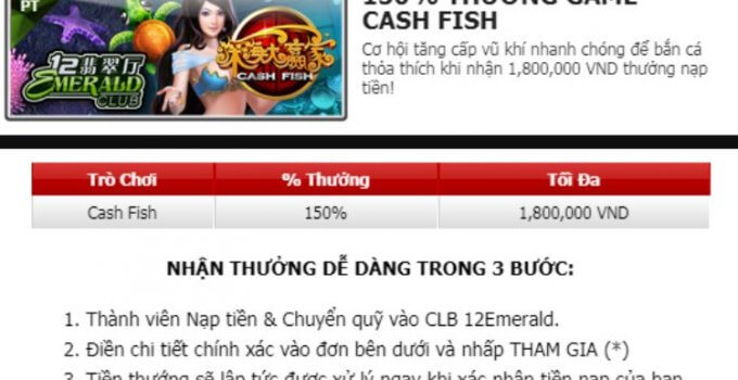 thưởng game cash fish